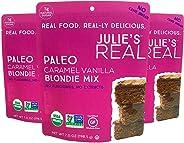 Julie's Real Organic Paleo Baking Mix | Caramel Vanilla Blondie Mix | 3-Pack | Vegan, Keto, Diabetic Friendly | No Cane Sugar, Made with Almond Flour | 22.88 oz