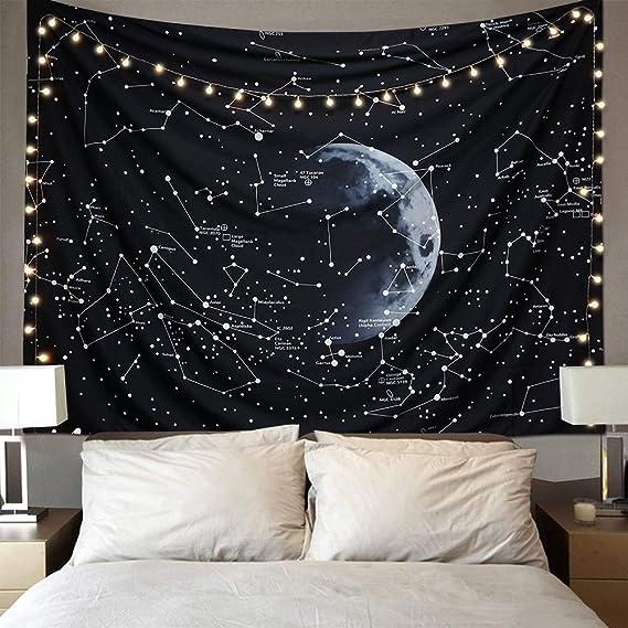 LOMOHOO Tapiz De Pared Colgante De Espacio Galaxia Nebulosa Misterioso Estelar Constelación Patrón Negro Hippie Tapices para La Sala De Estar ...