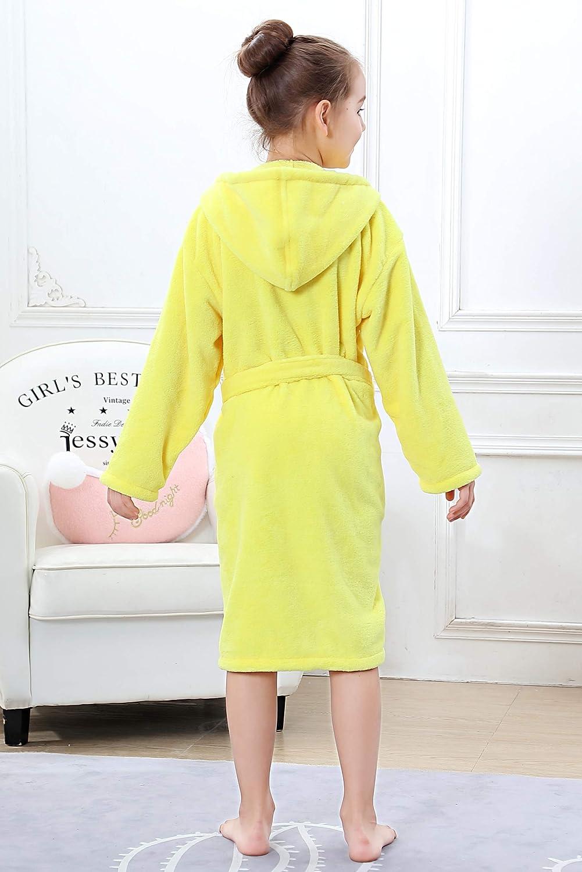 OUFANG Girl Boy Robe Kids Hooded Bathrobe Multicolors Unisex Sleep Bath Robe Sleepwear