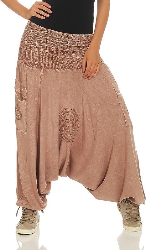 TALLA Talla única. LEENA Pantalones de harén Haremshose Bloomers de Las Mujeres Pantalones de Yoga de Aladdin Pantalones