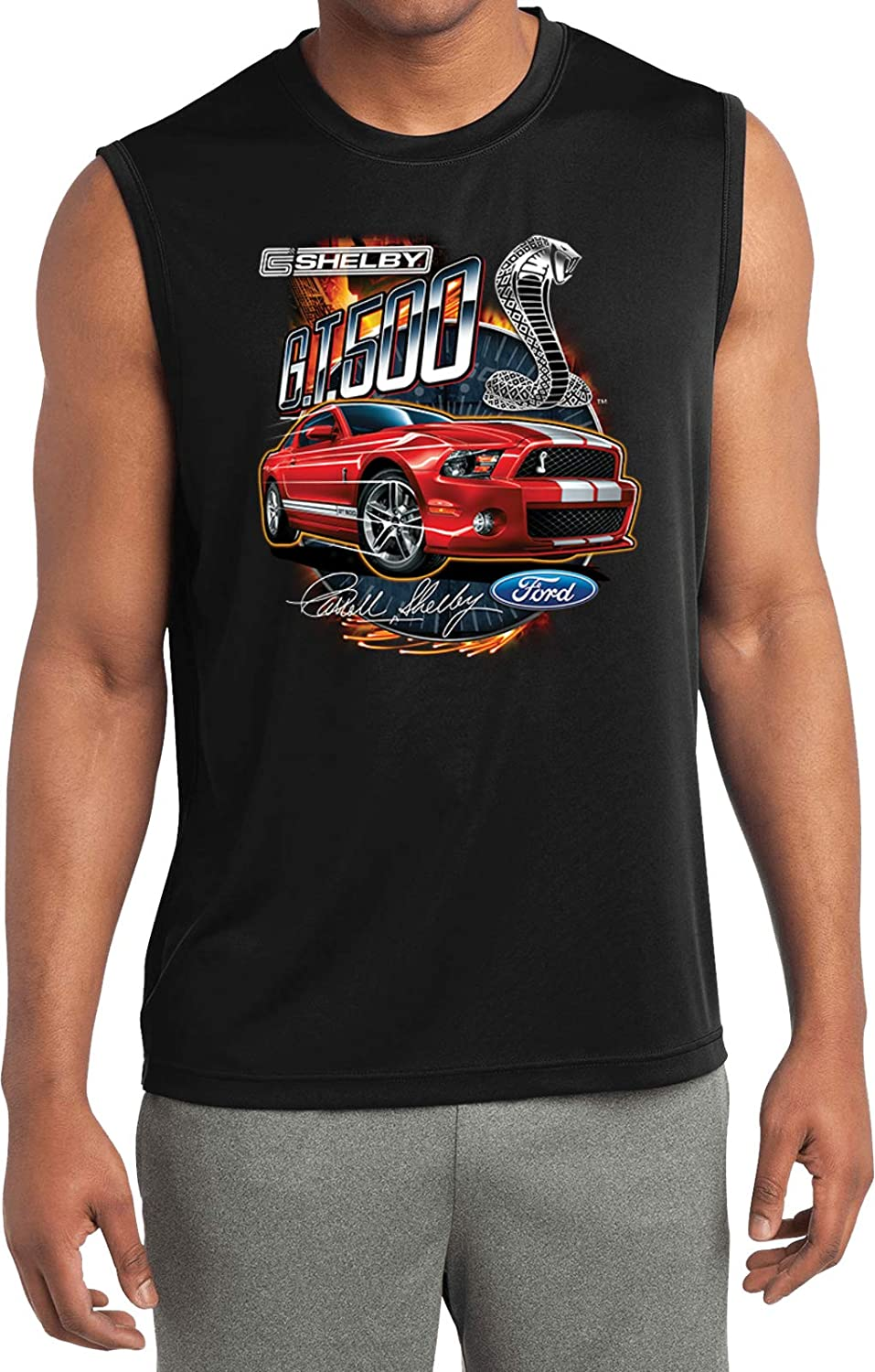 Amazon com ford mustang t shirt red shelby gt500 sleeveless competitor tee clothing