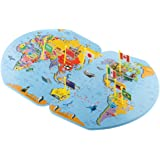 Generic Wooden World Map and 36 Flags Matching Puzzle Wall Map Geography Kids Educational Toy