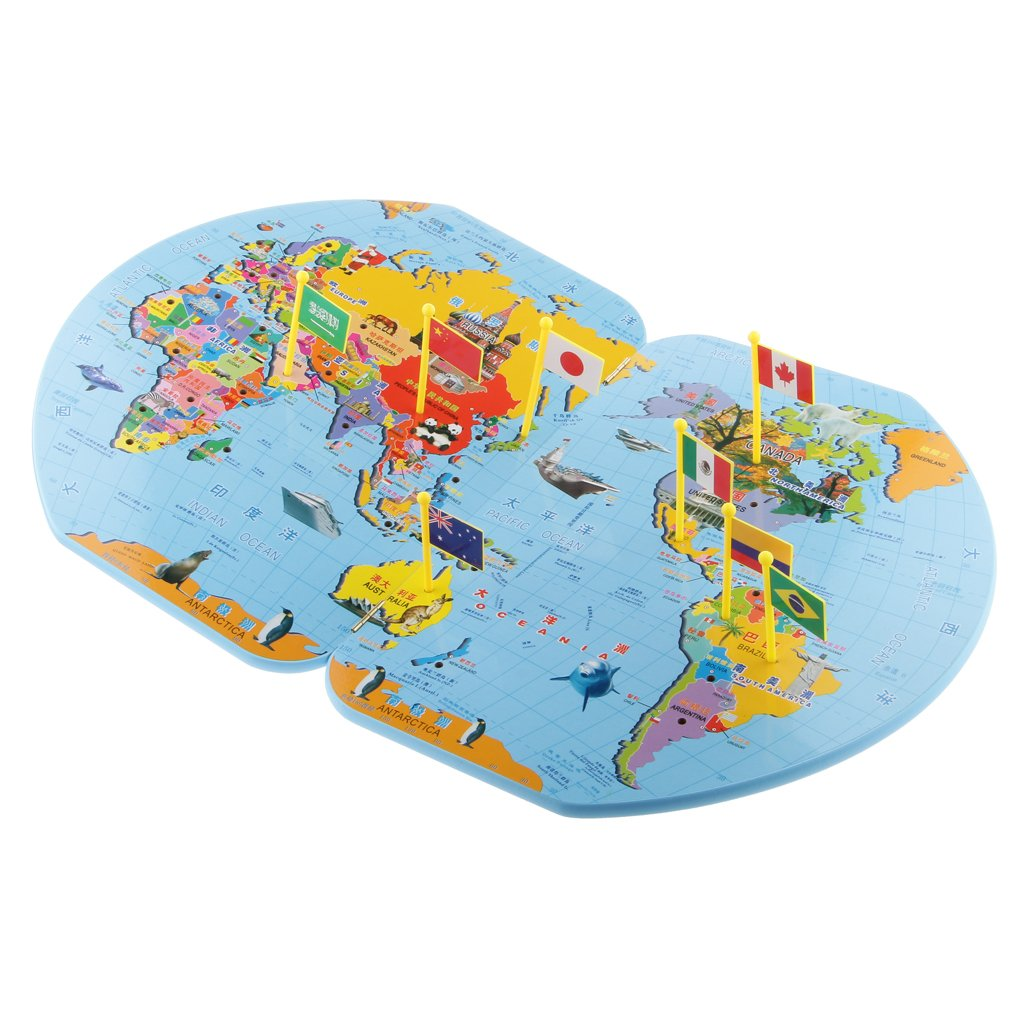 Buy Wooden World Map Flag Matching Puzzle Geography Educational Toy