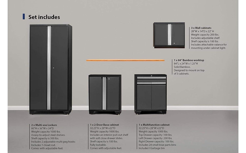 NewAge Products Pro 3.0 Gray 8 Piece Set Garage Cabinets 52097