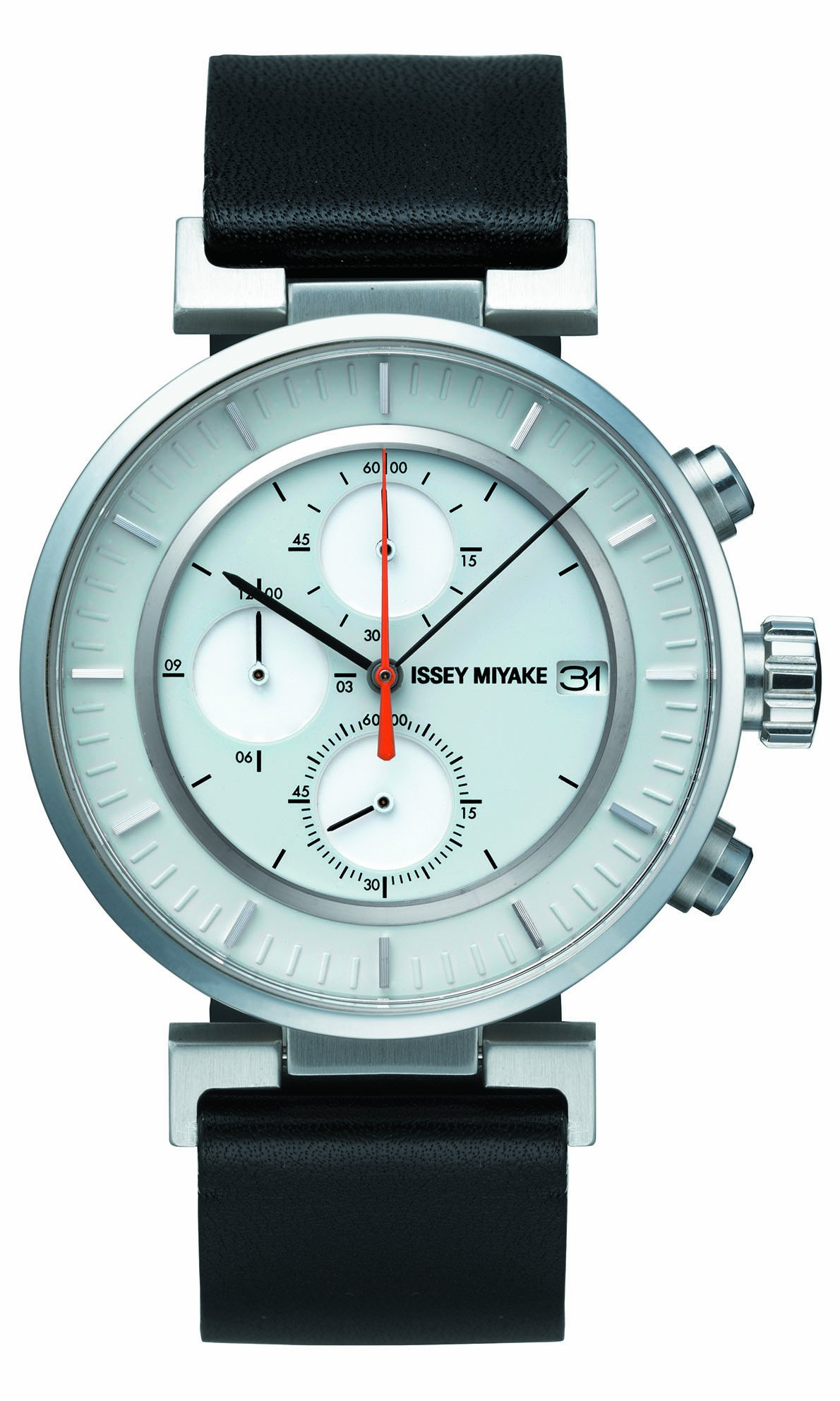 Issey Miyake W Unisex Quartz Watch with White Dial Chronograph Display and Black Leather Strap SILAY004 by Issey Miyake