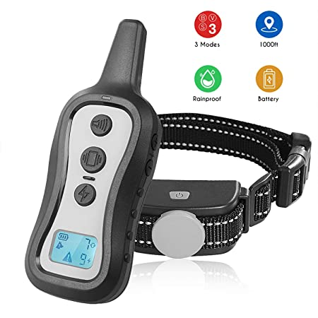 PeiTe Dog Training Collar – Dog Shock Collar with Remote 100 Rainproof Battery Beep Vibration Shock Collar up to 1000ft Remote Range for Small Medium Large Size Dog