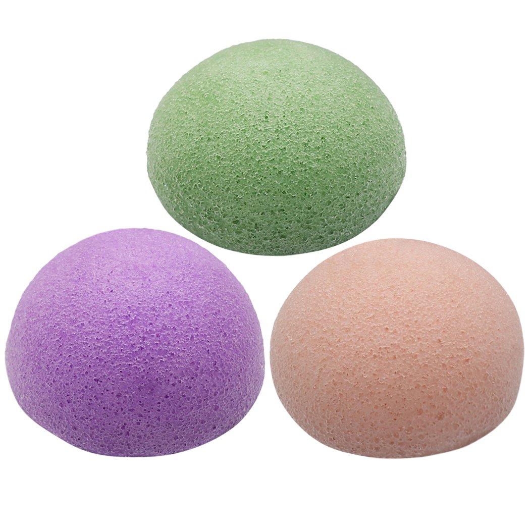 Kapmore Esponja Facial, Face Cleansing Sponge Hemisphere Shape Konjac Exfoliating Beauty Sponge (3Pcs)