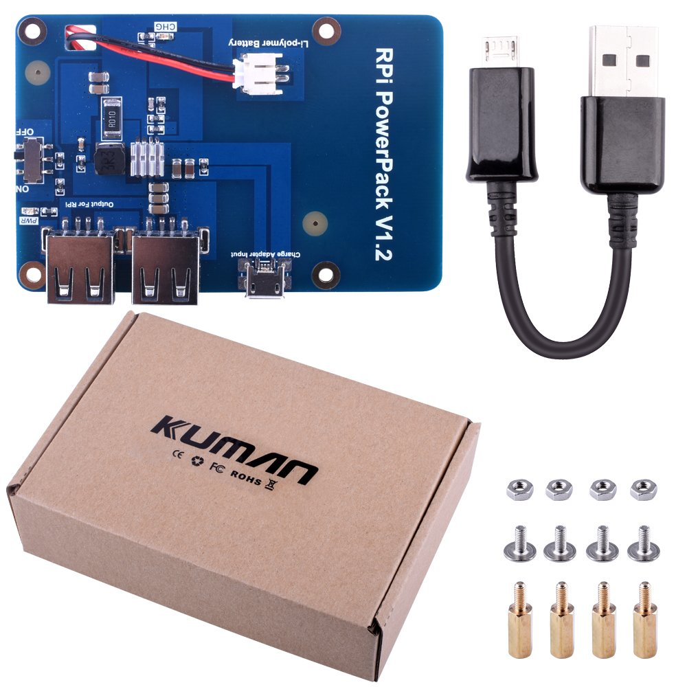 kuman Lithium Battery Pack Expansion Board Power Supply Switch + Micro USB Cable Raspberry Pi 3 Model B, Pi 2 Model B & Pi 1 Model B+ A+ A KY68 by kuman (Image #6)