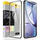 [Humixx] iPhone XR ガラスフィルム 日本旭硝子製 硬度10H 9Dラウンドエッジ加工 0.3mm薄さ ガイド枠付き