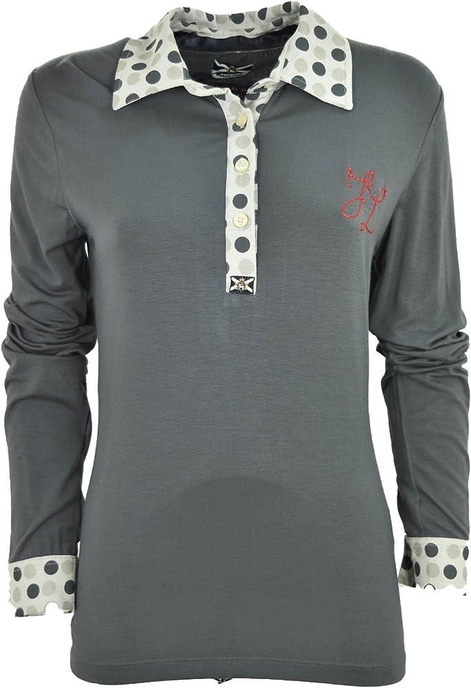 T-Shirt Mujer Polo Gris De Lunares - Johnny Corderos - Gris, S ...