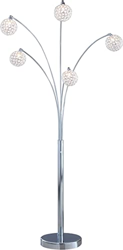Artiva USA A51118FSN Manhattan Handcrafted Crystal Arched Floor Lamp