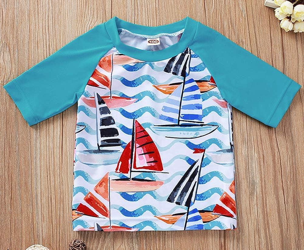 Baby Toddler Boys Two Pieces Swimsuit Set Boys Sailboat Print Bathing Suit Rash Guards Swimwear