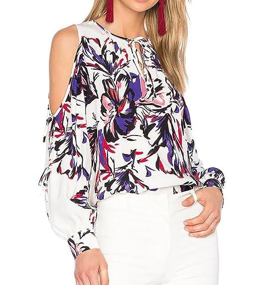 013dd7c042f4e4 WANSHIYISHE Women s Cold Shoulder Tie Front Long Sleeve Floral Loose Shirt Blouse  White US XS
