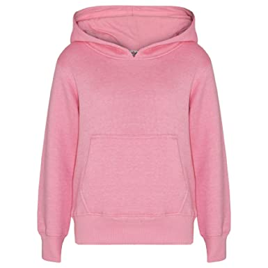 f4c6a553462 Kids Girls Boys Sweat Shirt Tops Plain Hooded Jumpers Hoodies New Age 2-13  Years
