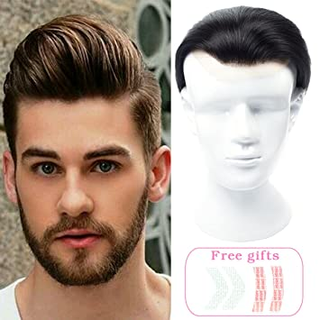 Toupee Hair Replacements Hairpieces for Men Handmade Lace Closure Toupee  for Men Hair Loss 100% 264837c07
