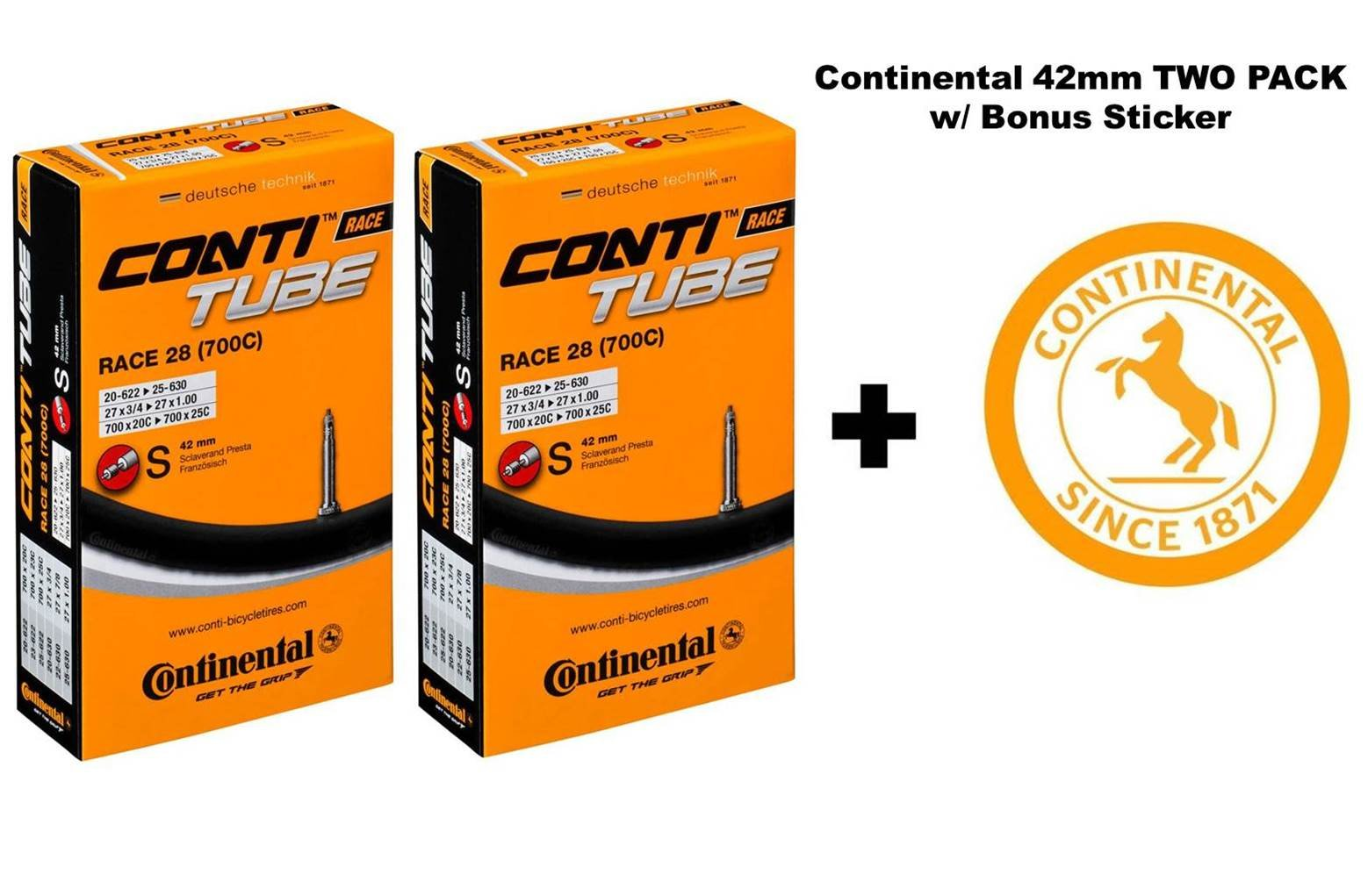 Continental Race 28'' 700x20-25c Bicycle Inner Tubes - 42mm Long Presta Valve - Two Pack w/Bonus Conti Sticker