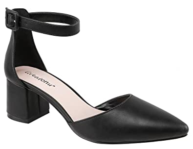 7f62f1637401 Greatonu Women Party Wedding Office Closed Pointed Toe Mid Block Heels  Ankle Strap Buckle Black Pu