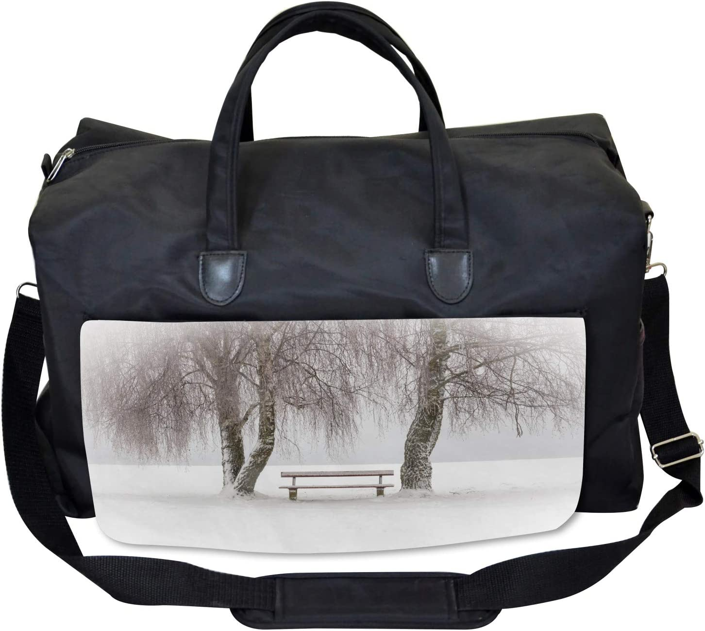 Ambesonne Winter Gym Bag Bench Trees Snowflakes Large Weekender Carry-on