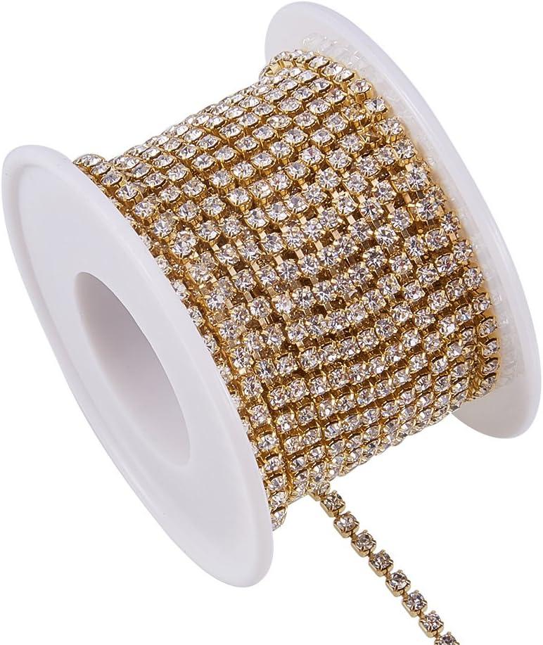 Crystal AB Silver /& Gold Bottom BENECREAT 2 Rolls 10 Yard 2.6mm Crystal Rhinestone Close Chain Clear Trimming Claw Chain Sewing Craft About 2740pcs Rhinestones