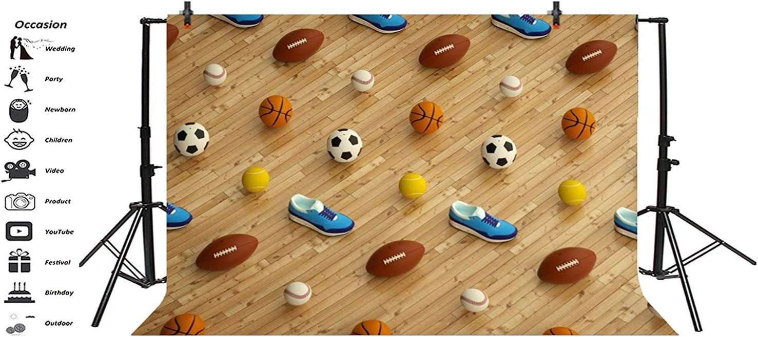 10x6.5ft Sports Equipment Backdrop Polyester Photography Background Football Basketball Rugby Baseball Blue Gym Shoes School Sports Meeting Children Kids Adult Portrait Shoot Video Studio