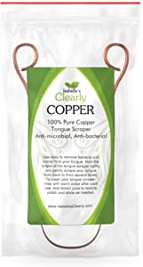 Clearly COPPER Tongue Cleaner and Scraper I Ayurvedic Heavy Duty Antimicrobial 100% Pure Copper I Best Bad Breath Remedy I Remove Bacteria and Toxins