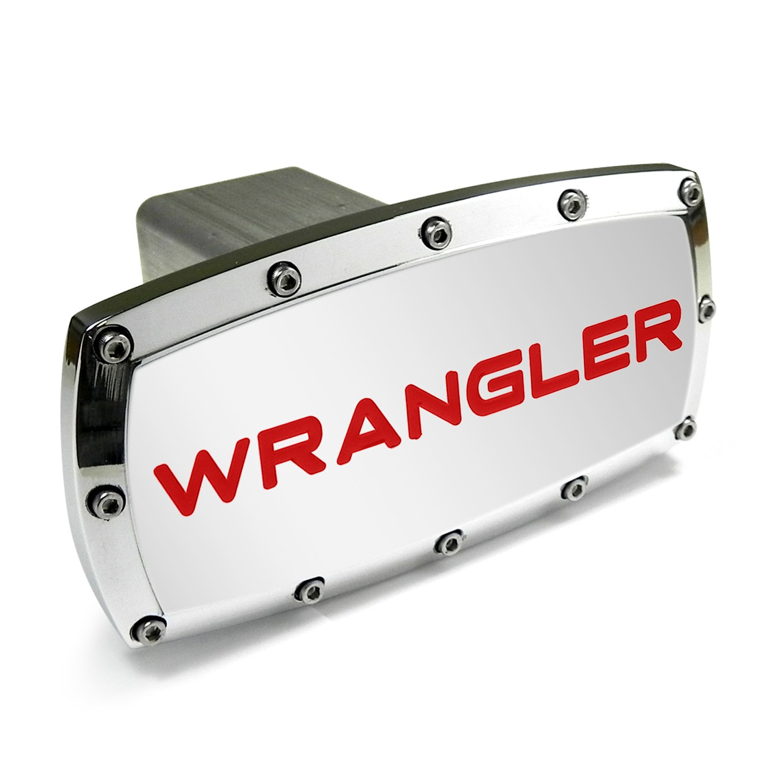 Jeep Wrangler Red Engraved Billet Aluminum Chrome Tow Hitch Cover by Jeep