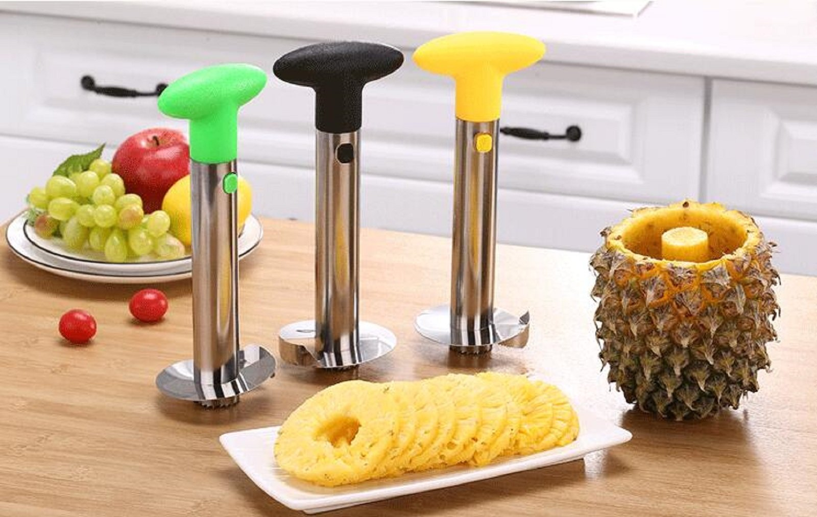 Pineapple Cutter Professional Pineapple Corer Slicer 3-In-1Pineapple Peeler Corer And Spiral Cutter Stainless Steel Frosted De-Corer Peeler,Fast Peels And Slice Fresh Pineapple,Easy & Fun