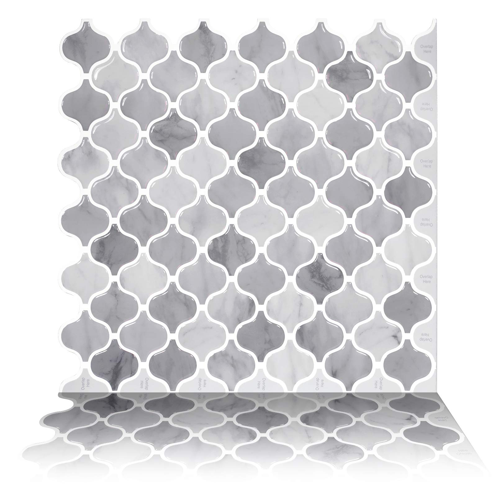 Tic Tac Tiles 10-Sheet 12'' x 12'' Peel and Stick Self Adhesive Removable Stick On Kitchen Backsplash Bathroom 3D Wall Sticker Wallpaper Tiles in Damask Marble by Tic Tac Tiles