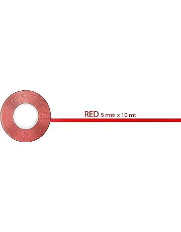 quattroerre 10009 Rollo de Tiras Adhesivas, rojo, 10 metros x 5 mm