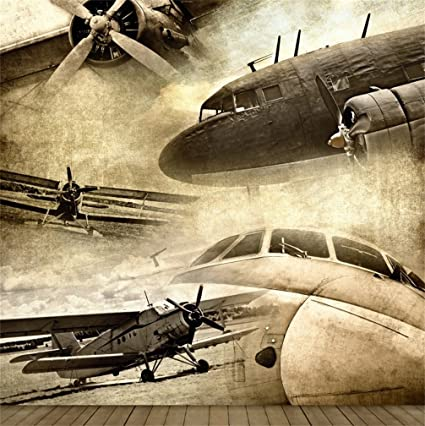 Csfoto 5x5ft Background For Grunge Retro Aviation Old Ancient Plane Photography Backdrop Fighter Plane Nostalgic Warfare Freedom Independence History