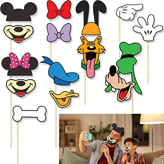 Amazon Com Cartoon Characters Happy Birthday Photo Booth Props Party Decorations For Selfie Props Accessories On Sticks Baby Shower Birthday Party Favors Theme Decor Supplies 15 Pcs Kitchen Dining