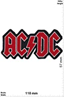 Patch - ACDC - AC DC - red - silver -black - Musicpatch - Rock - Vest - Patches - Iron on Patch - Applique embroidery Écusson brodé Costume Cadeau- Give Away