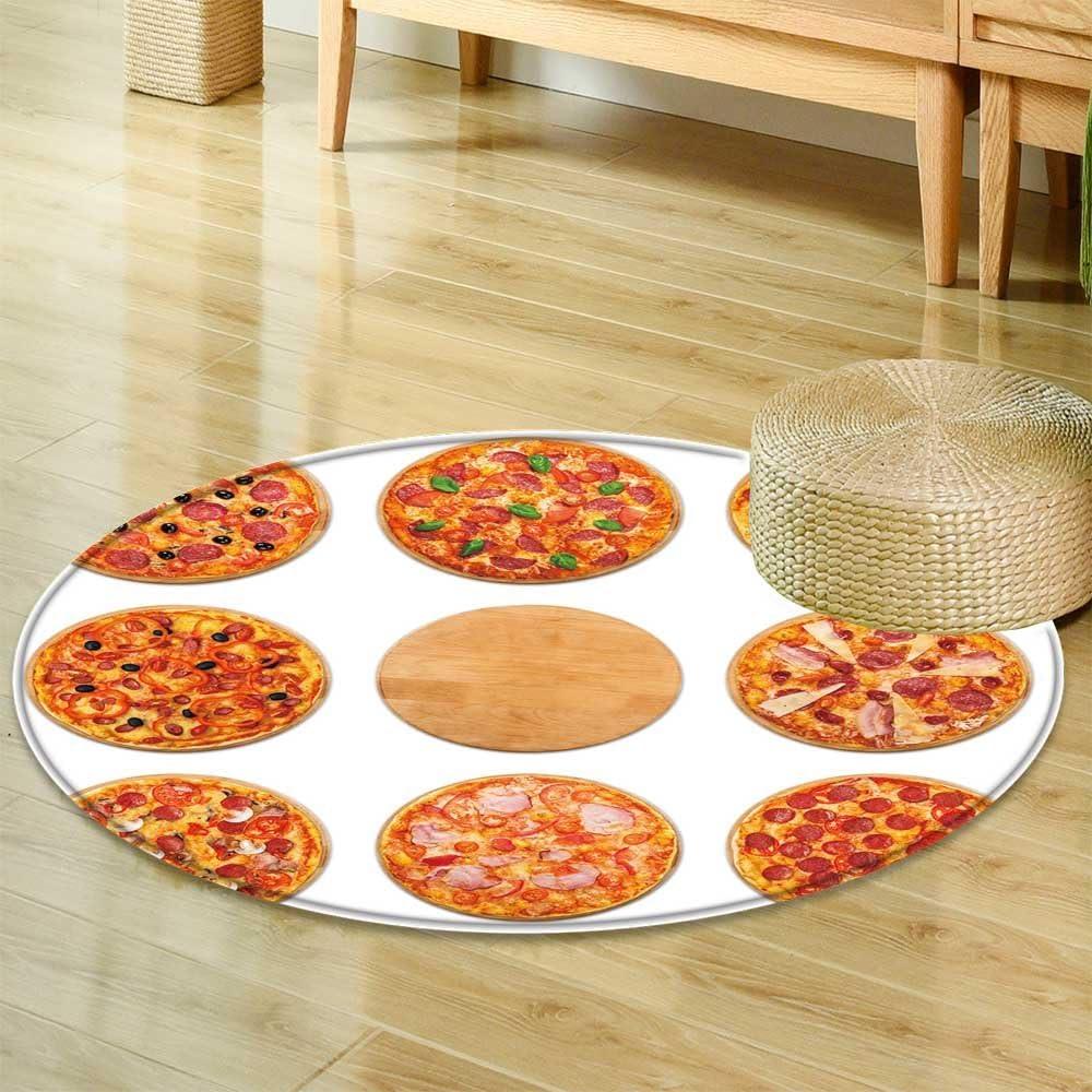 Juego de 8 alfombras Redondas Antideslizantes para Pizza de Menú, Comida Italiana Tradicional, Pizzas de Carne, Suelo Oriental y alfombras: Amazon.es: Hogar