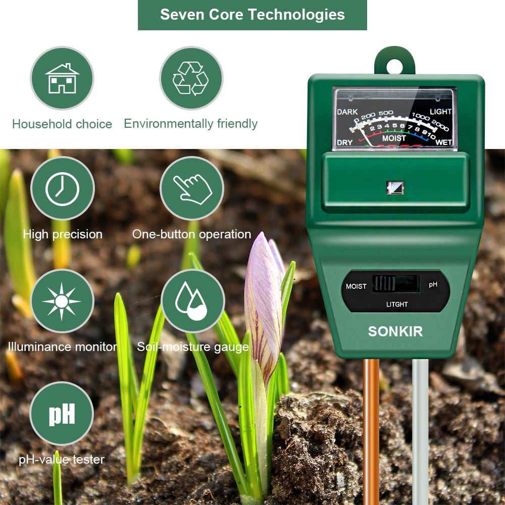 Sonkir Soil pH Meter, 3-in-1 Soil Moisture/Light/pH Tester Gardening Tool Kits for Plant Care, Great for Garden, Lawn, Farm, Indoor & Outdoor Use (MSO2 Soil pH Meter) by Sonkir (Image #9)
