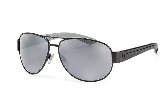 Filtral Sportliche Pilotenbrille / Silber verspiegelte Herren-Sonnenbrille mit schwarzer Metallfront und Kunststoffbügeln F3000618 WRhvuX