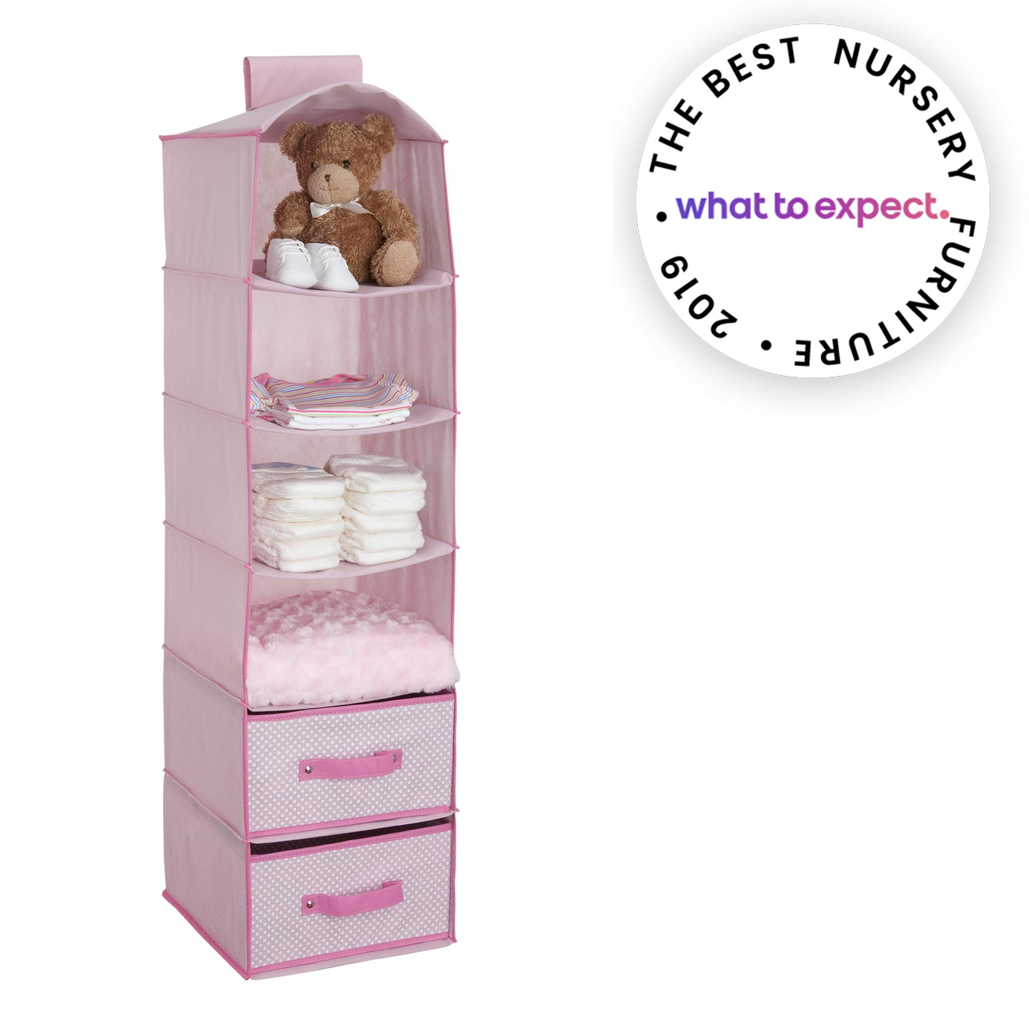 Delta Children 6 Shelf Storage with 2 Drawers, Barely Pink by Delta Children