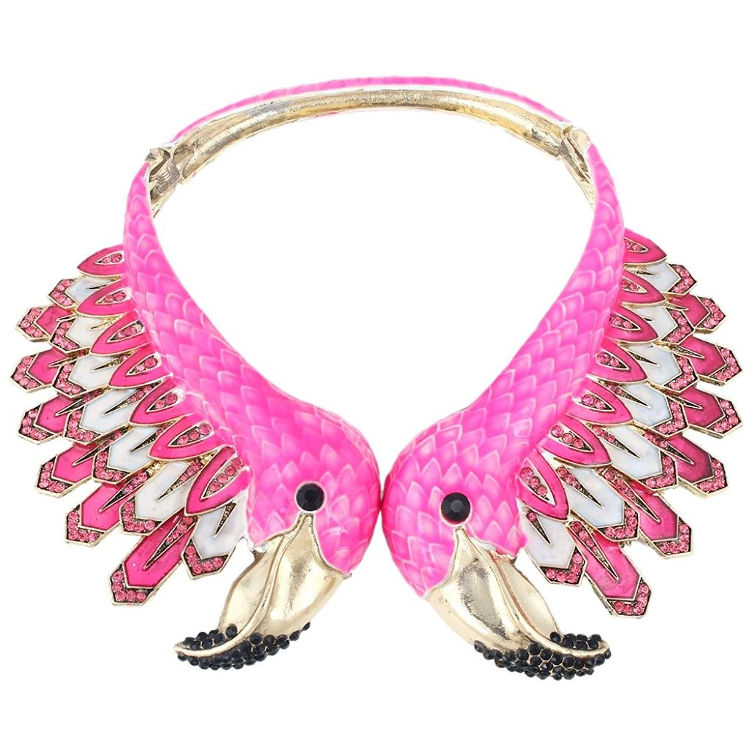 EVER FAITH® Gold-Tone Austrian Crystal Vintage Style 2 Flamingo Statement Choker Necklace Pink