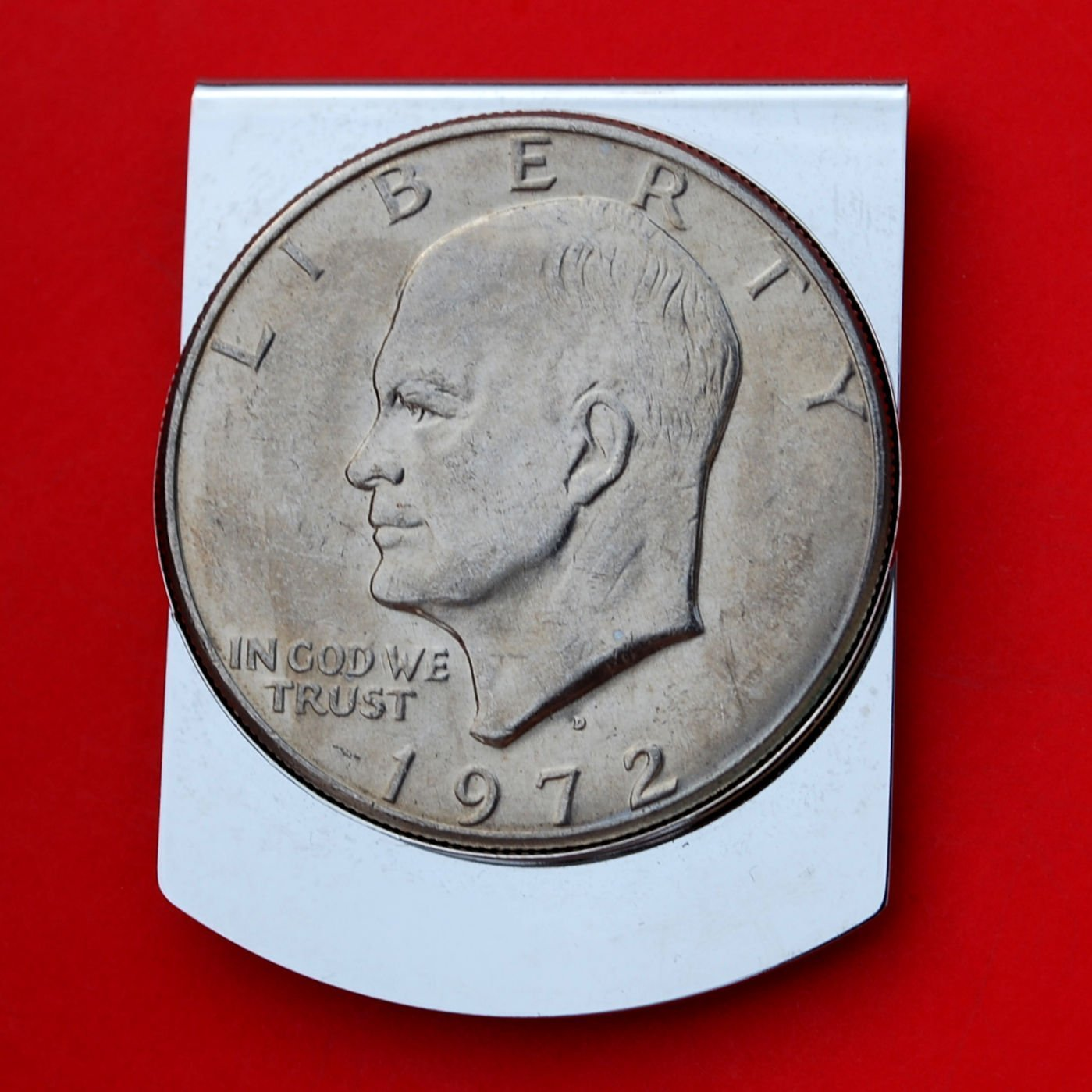 Wide Design US 1972 Eisenhower Dollar BU Uncirculated Coin Stainless Steel Large Money Clip NEW