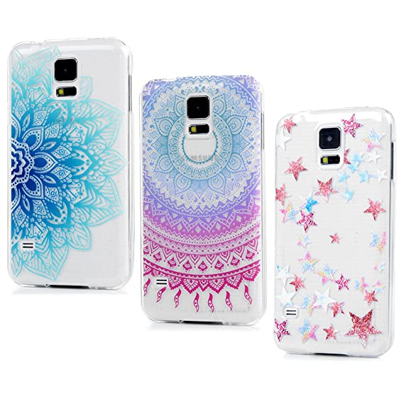 get cheap 568a5 b4c7a YOKIRIN Galaxy S5 Case, 3 Pcs Colorful Printed Cute Totem Pattern  Transparent Clear Soft Gel Silicone TPU Rubber Slim Fit Shock Absorption  Protective ...
