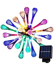 Goodia multi color 4.8M 20 LED Icicle Lights Solar Powered Raindrop Garden String Fairy Lights/LED Waterproof Decorative Lights for Outdoor, Garden, Patio, Christmas, Xmas Tree, Holiday Party