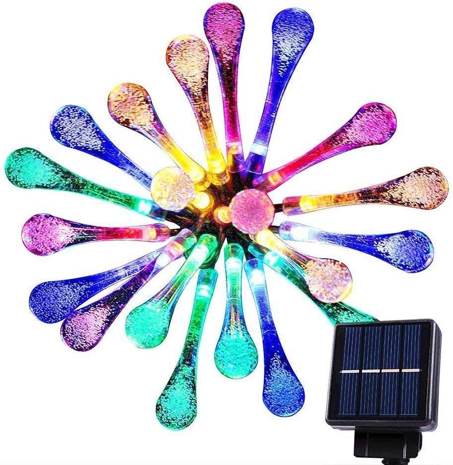 20 LED Multi Color Solar String Lights Outdoor Garden String Lights Solar Powered, Goodia 4.8M Waterproof Crystal Raindrop Decorative Lights for