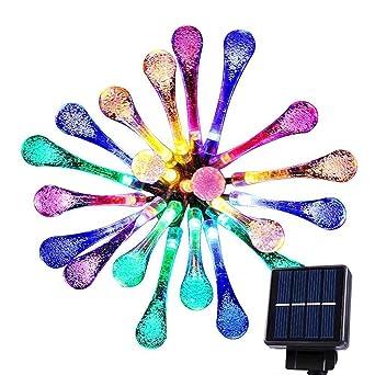 Goodia 20 LED luces carámbano gotas de agua solares Jardín hadas ...