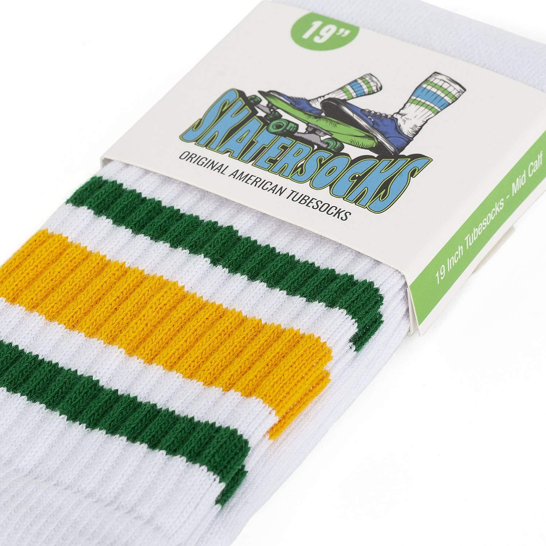 22 pulgadas Skatersocks Calcetines para hombre y mujer color blanco verde y amarillo dise/ño de rayas