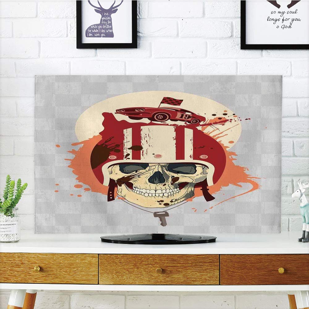 iPrint LCD TV Cover Multi Style,Skull,Racing Driver Skull with Helmet Dead Competitor Retro Horror Style Graphic Art Print,Multi,Customizable Design Compatible 42'' TV