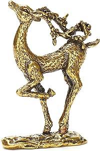 YHT Christmas Deer Statues Pure Copper Elk Brass Sculpture Christmas Deer Gift Small Ornaments Solid Brass Sika Deer Elaphurus davidianus Brass Sculpture Bronze Sculpture
