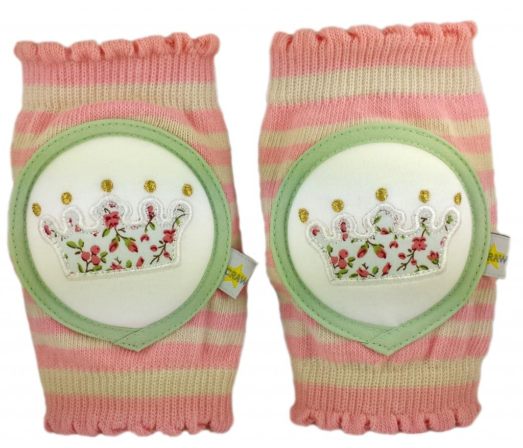 Crawlings Girl's Crown Knee Pads One Size Pink Floral by Crawlings