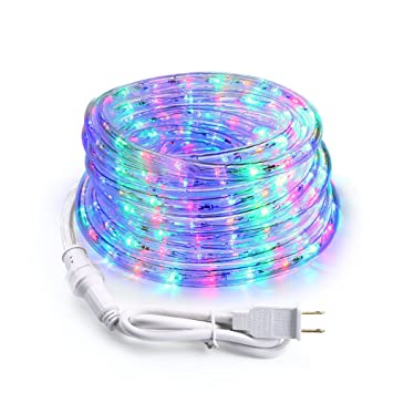 Amazon brizled led rope lights 18ft 216 led string lights brizled led rope lights18ft 216 led string lights with clear pvc tube 120v aloadofball Choice Image