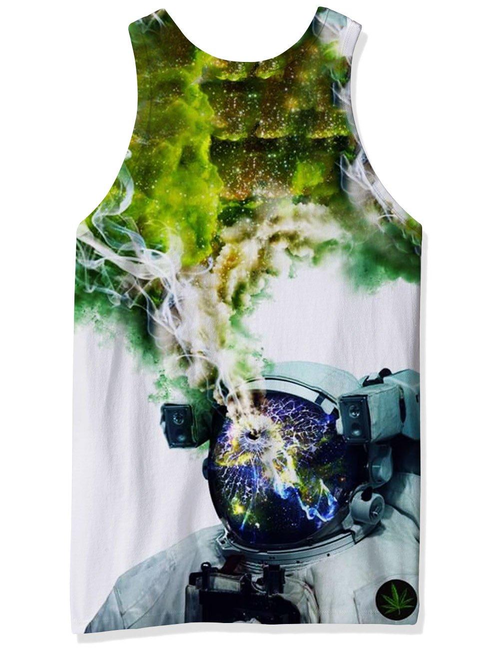 RAISEVERN Herren Lustige 3D Grafik Drucken Astronaut Tank Tops Sleeveless T-Shirts Graphics Tees XL