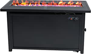PHI VILLA Gas Fire Pit Table, 45 Inch Large Long Rectangular Outdoor Patio Propane 50000 BTU Fire Table with Lid and Blue Fire Glass, Black