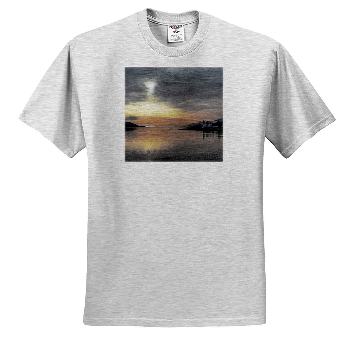 Highlands of Scotland Loch View at Loch Lhinne T-Shirts Photograph -Sunset View 3dRose Made in The Highlands